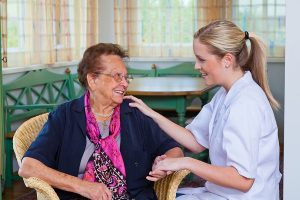 Old woman getting an aged care financial advice