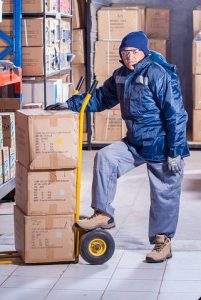 Freight forwarder stacking boxes